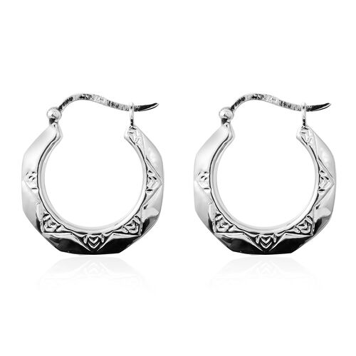 Sterling Silver Hoop Earrings (with Clasp Lock), Silver wt 4.10 Gms