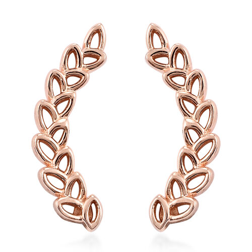 J Francis Rose Gold Overlay Sterling Silver Wheat-Inspired Climber Earrings (with Push Back) Made wi