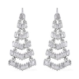 1 Carat Diamond Chandelier Earrings in Platinum Plated Sterling Silver