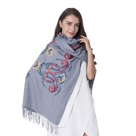 Designer Inspired Grey Colour Cashew Flower Pattern Shawl with Embroidery (Size 182x66+9 Cm)