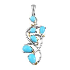 Arizona Sleeping Beauty Turquoise Leaf Design Pendant  in Platinum and Yellow Gold Overlay Sterling