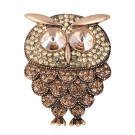 Simulated Champagne Diamond (Rnd 11 mm), Yellow and Champagne Colour Austrian Crystal Owl Brooch in Gold Plating