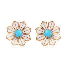 Arizona Sleeping Beauty Turquoise Enamelled Floral Stud Earrings (with Push Back) 14K Gold Overlay S