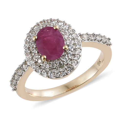 1.50 Ct Burmese Ruby and Natural Cambodian Zircon Halo Ring in 9K Yellow Gold 2.87 Grams