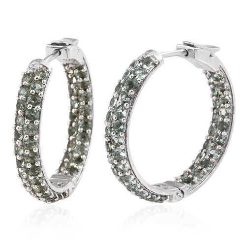 Mint Apatite (Rnd) Hoop Earrings (with Clasp) in Black Rhodium Plated Sterling Silver 5.000 Ct. Silver wt 12.54 Gms.