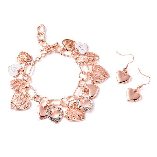 2 Piece Set - White Austrian Crystal Enamelled Heart Charm Bracelet (Size 9) and Hook Earrings in Ro
