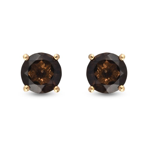 MP - AA Brazilian Smoky Quartz (Rnd) Stud Earrings (with Push Back) in 14K Gold Overlay Sterling Sil
