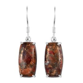 One Time Deal- Fire Opal Matrix (Cush 18x19 mm) Hook Earrings in Sterling Silver 12.00 Ct.