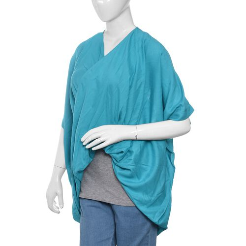 Close Out Deal-Turquoise Colour Cross Over Wrap Drape Top (Free Size)