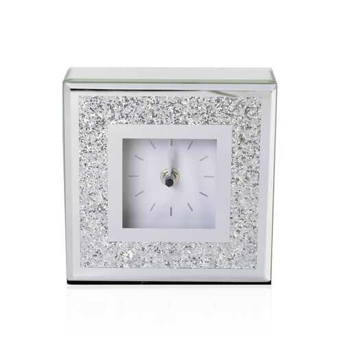 Silver Bling Embellished White Colour Square Shape Clock with Glass at Front (Size 15X15X5 Cm)
