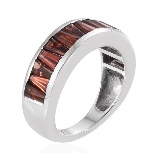 Mozambique Garnet (Bgt) Half Eternity Ring in Platinum Overlay Sterling Silver 3.000 Ct
