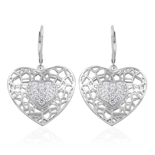 J Francis - Platinum Overlay Sterling Silver Heart Lever Back Earrings Made with SWAROVSKI ZIRCONIA,
