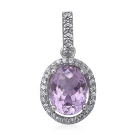 3.40 Ct Martha Rocha Kunzite and Zircon Halo Pendant in Sterling Silver