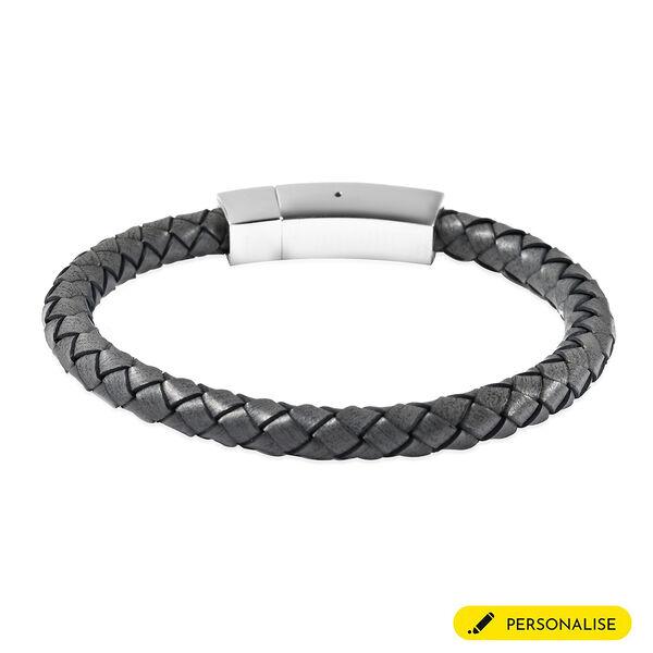 """Personalised Engravable Grey Leather Bracelet 8"""", Steel"""