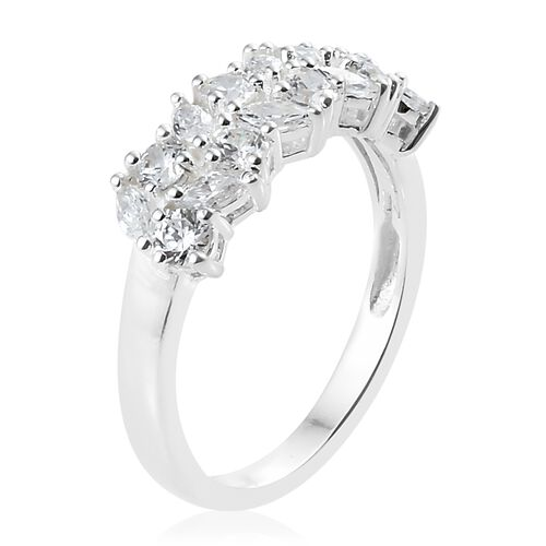 J Francis - Sterling Silver (Mrq and Rnd) Ring Made with SWAROVSKI ZIRCONIA