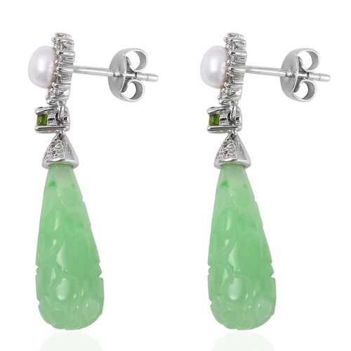 Carved Green Jade, Fresh Water Pearl, Russian Diopside and Natural White Cambodian Zircon Earrings (with Push Back) in Rhodium Overlay Sterling Silver 19.300 Ct.