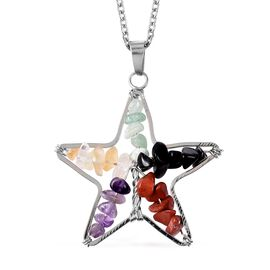 Multi Gemstone Star Pendant with Chain (Size 24) in Stainless Steel 20.00 Ct.