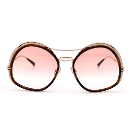 MAX MARA Ladies Gold and Brown Tort Oversized Sunglasses with Pink Lenses