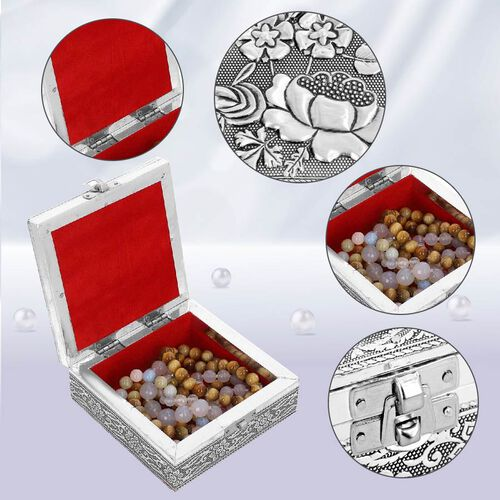 3D Embossed Collection Handcrafted Flower Oxidised Jewellery Box (Size 12.7x12.7cm)