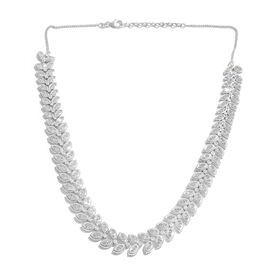 J Francis - Platinum Overlay Sterling Silver (Mrq) Leaves Necklace (Size 18 with 2 inch Extender) Made with SWAROVSKI ZIRCONIA. Silver Wt 50.50 Gms