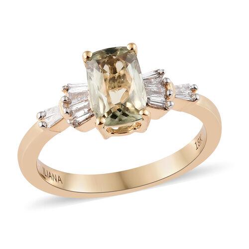 ILIANA 18K Yellow Gold AAA Turkizite (Cush), Diamond (SI/G-H) Ring 1.250 Ct