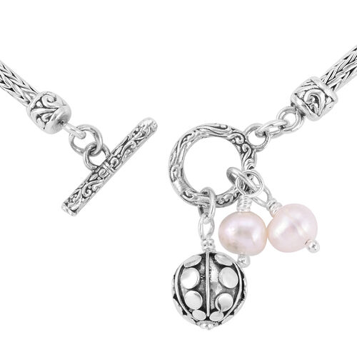 Royal Bali Collection- Freshwater Pearl Bracelet (Size 7) with Charms in Sterling Silver, Silver wt 10.54 Gms.