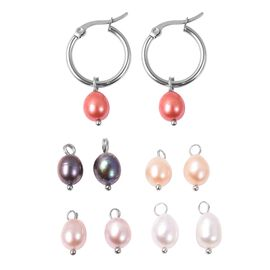 Set of 5 - Multi Freshwater Pearl Hoop Earrings (with Clasp) with Interchangeable Pearl Charm in Sta