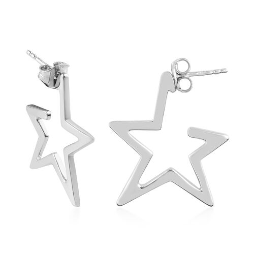 Sundays Child - Platinum Overlay Sterling Silver Star Hoop Earrings (with Push Back)