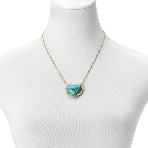One Time Deal- Rare Heart Shaped Russian Amazonite, Rose Quartz and White Austrian Crystal Reversible Heart Necklace (Size 20)  Yellow Plated