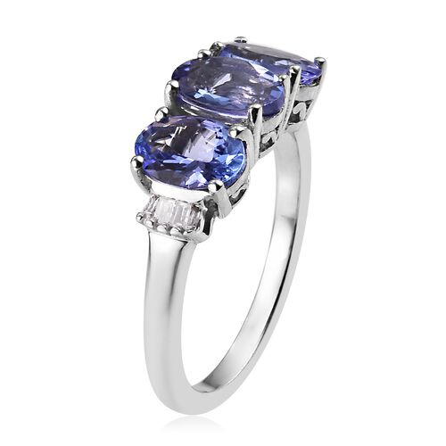 Premium Tanzanite (Ovl 7x5mm), Diamond Ring in Platinum Overlay Sterling Silver 2.25 Ct.