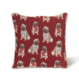 Signare Pug Pattern Cushion Cover  (45x45 cm)