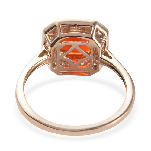 9K Yellow Gold AAA Jalisco Fire Opal and Natural Diamond Ring 1.50 Ct.