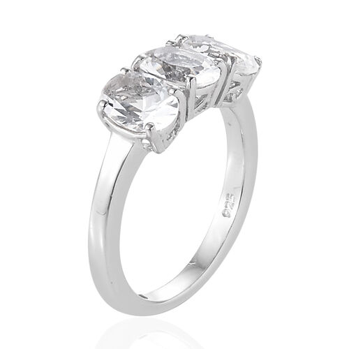 Extremely Rare Size-Petalite (Ovl 7x5 mm) Trilogy Ring in Platinum Overlay Sterling Silver 1.750  Ct.