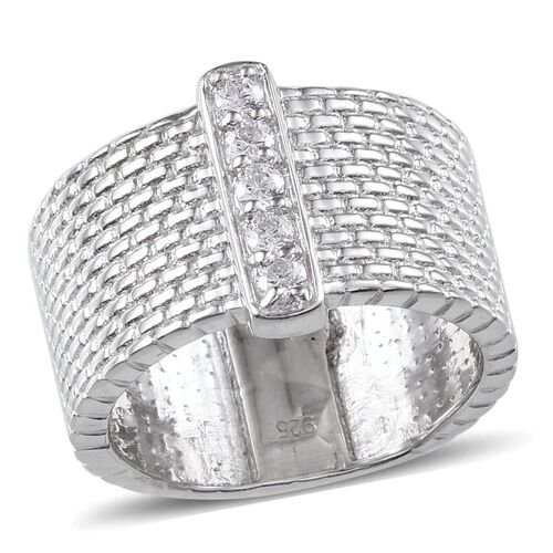 J Francis - Platinum Overlay Sterling Silver (Rnd) 5 Stone Ring Made with SWAROVSKI ZIRCONIA 0.300 Ct.