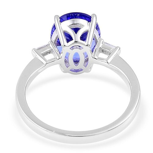 ILIANA 18K White Gold AAA Tanzanite (Ovl 3.50 Ct), Diamond (SI/G-H) Ring 3.750 Ct.