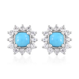 3 Ct Arizona Sleeping Beauty Turquoise and Cambodian Zircon Halo Stud Earrings in Sterling Silver