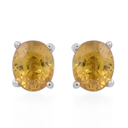 9K White Gold 0.80 Carat AA Yellow Sapphire Stud Earrings (with Push Back)