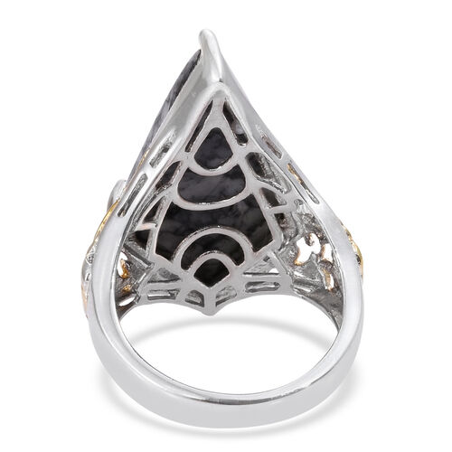 Austrian Pinolith Ring in Platinum and Yellow Gold Overlay Sterling Silver 20.500 Ct.