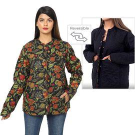 Handmade Printed Reversible Quilted Full-Sleeves Short Jacket in Black