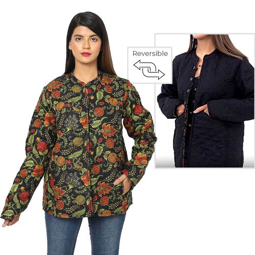 Handmade Printed Reversible Quilted Full-Sleeves Short Jacket in Black - Size M