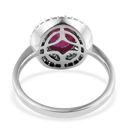 RHAPSODY 950 Platinum AAAA Burmese Ruby (Ovl 9x7 mm), Diamond (VS/ E-F) Ring 2.500 Ct.