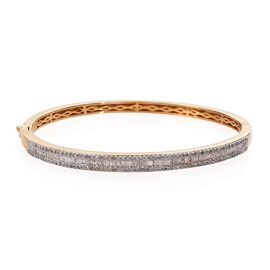 Diamond (Bgt and Rnd) Bangle in 14K Gold Overlay Sterling Silver 1.505 Ct (Size 7.5 Inch), Silver wt