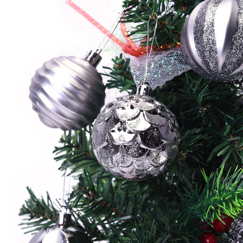 12 Piece Set Decoration Balls (Size 5.5mm) in the Gift Box - Grey