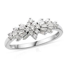 ILIANA 18K White Gold Diamond IGI Certified (Bgt and Rnd) (SI /G-H) Ballerina Ring 0.500 Ct.