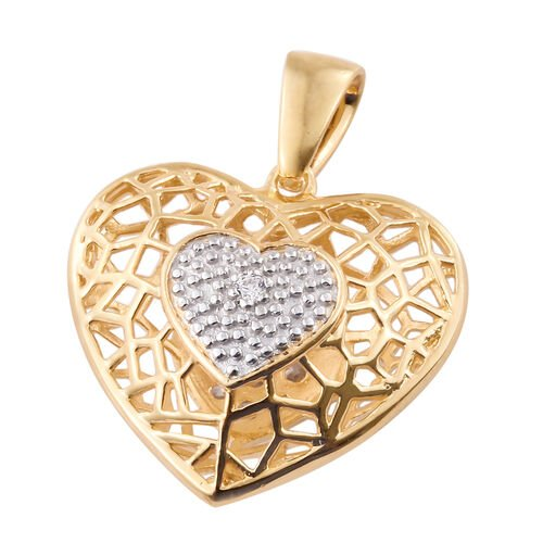 J Francis - 14K Gold Overlay Sterling Silver Heart Pendant Made with SWAROVSKI ZIRCONIA
