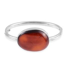 Baltic Amber Bangle (Size 7.25) in Rhodium Overlay Sterling Silver