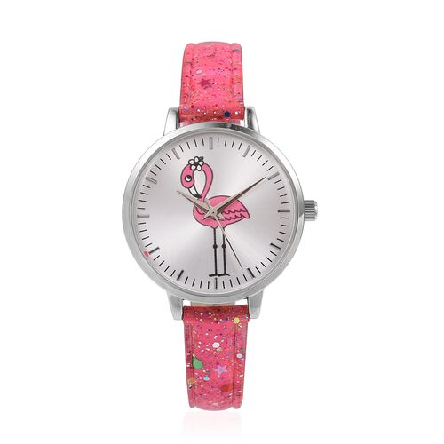 2 Piece Set - STRADA Japanese Movement Water Resistant Watch with Rose Pink Strap and Pink Flamingo Keychain