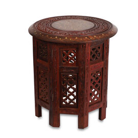 Handcarved Round Sheesham Wood Folding Table with Octangle Legs and Molsary Jali Work (Size 38x38 Cm