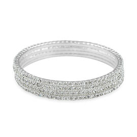 One Time Close Out 4 Piece Set Simulated Diamond Stacker Bangle in Silver Tone 8.5 Inch