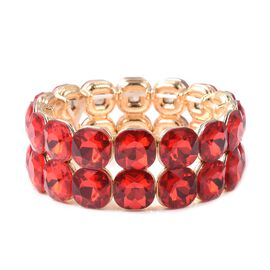 Simulated Ruby Stretchable Bracelet in gold Plated 6.5 Inch